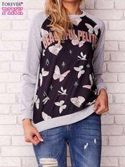 Szara bluza z napisem BEAUTIFUL PELITER i motywem motyli