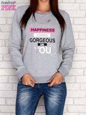 Szara bluza z napisem SMILE HAPPINESS LOOKS GORGEOUS ON YOU