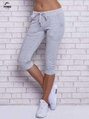 Szare melanżowe spodnie capri z bocznymi kieszeniami