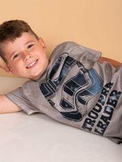 Szary dekatyzowany t-shirt chłopięcy STAR WARS