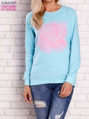 Turkusowa bluza z kolorowym nadrukiem