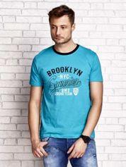 Zielony t-shirt męski z napisem BROOKLYN NYC