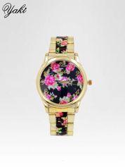 Złoty zegarek damski na bransolecie z czarnym motywem kwiatowym