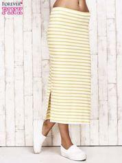 Żółta spódnica maxi w paski