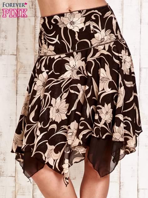 Beżowa spódnica w kwiaty z karczkiem