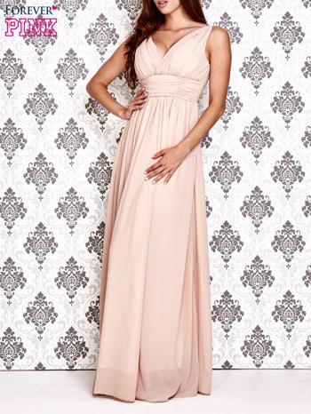 Beżowa sukienka maxi z odkrytymi plecami