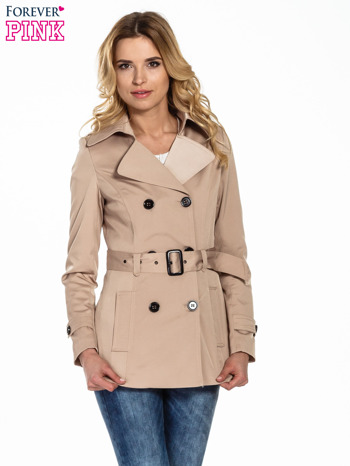 Beżowy krótki płaszcz trencz