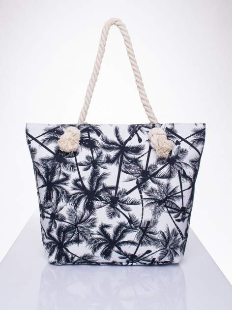 Biała plażowa torba w palmy na sznurku