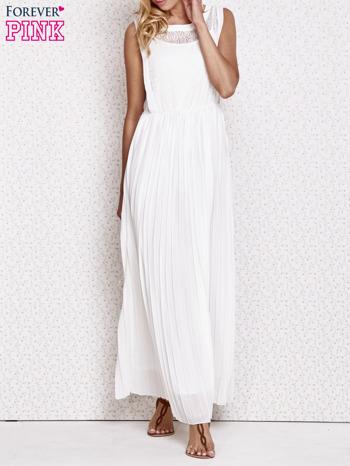 Biała sukienka maxi z koronkowym przodem