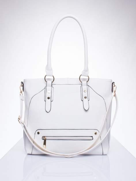 Biała torba shopper bag z suwakiem