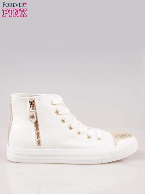 Białe sneakersy gold cap toe z suwakiem z boku