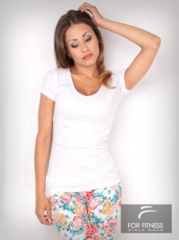 Biały t-shirt bawełniany For Fitness