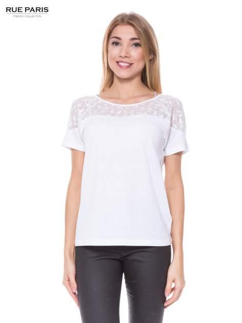 Biały t-shirt z transparentną górą w kokardki