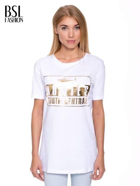 Biały t-shirt ze złotym nadrukiem HOMIES SOUTH CENTRAL