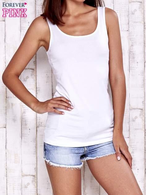 Biały top basic z szerokimi ramiączkami