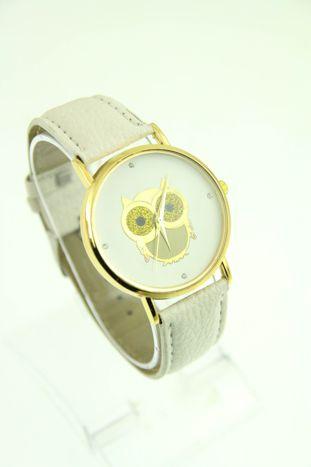 Biały zegarek damski z sową na skórzanym pasku