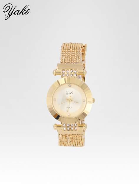 Biżuteryjny złoty zegarek damski ze złotą tarczą