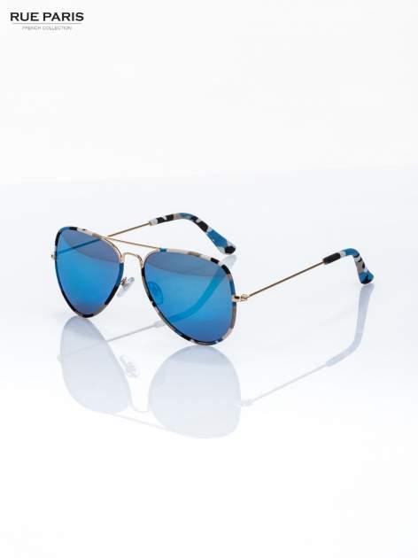 Błękitne moro okulary przeciwsłoneczne pilotki