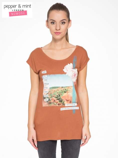 Brązowy t-shirt z nadrukiem w romantycznym stylu