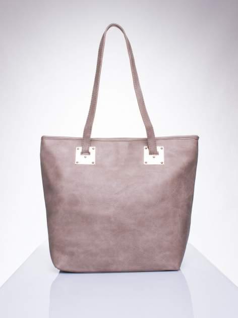Ciemnobeżowa prosta torba shopper bag ze złotymi okuciami