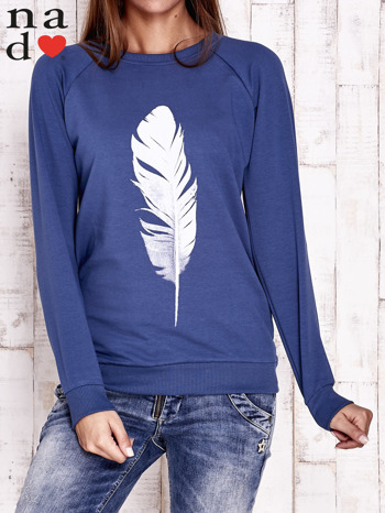 Ciemnoniebieska bluza z piórkiem