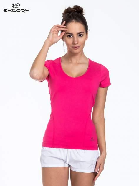 Ciemnoróżowy t-shirt sportowy basic
