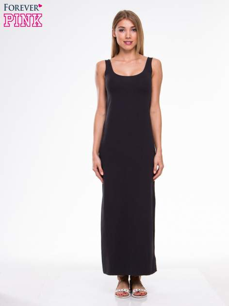 Ciemnoszara długa sukienka maxi na ramiączkach