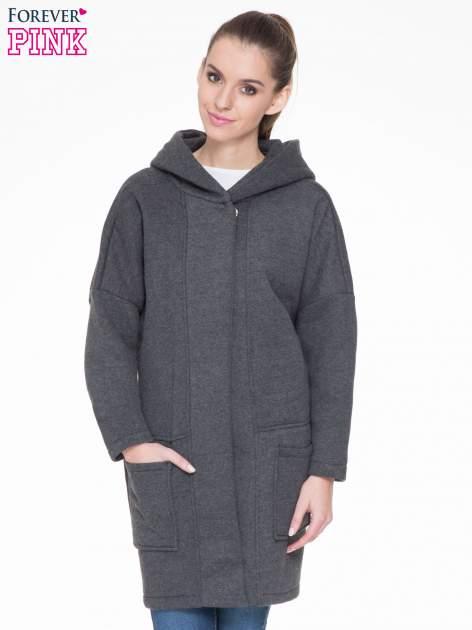 Ciemnoszary dresowy płaszcz z kapturem i kieszeniami