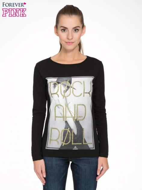 Czarna bluzka ze złotym brokatowym napisem ROCK AND ROLL