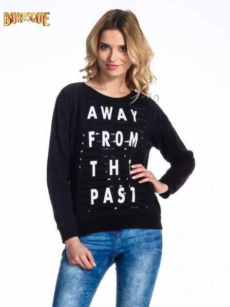 Czarna damska bluza z napisem AWAY FROM THE PAST
