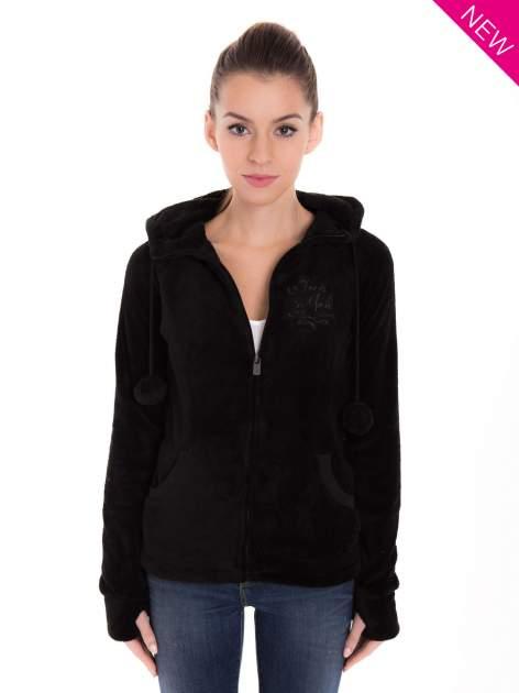 Czarna pluszowa bluza z kapturem z uszkami i pomponami