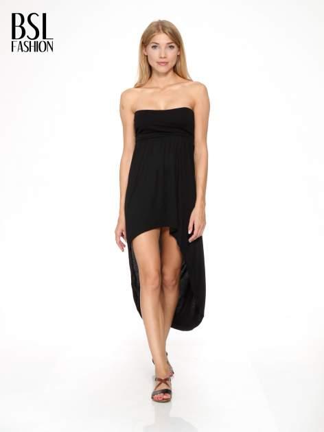 Czarna sukienka bez ramiączek z dłuższym tyłem