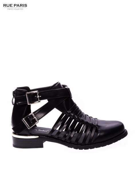 Czarne sandały cut out z klamerkami i złotym obcasem