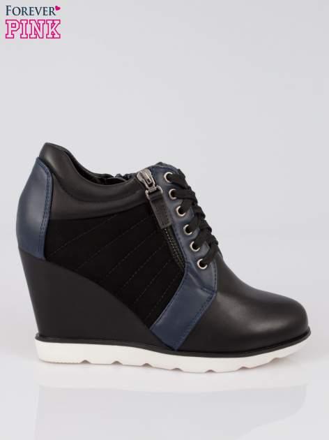 Czarne sneakersy damskie na traktorowej podeszwie