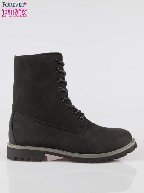 Czarne wysokie buty trekkingowe traperki damskie ze skóry naturalnej