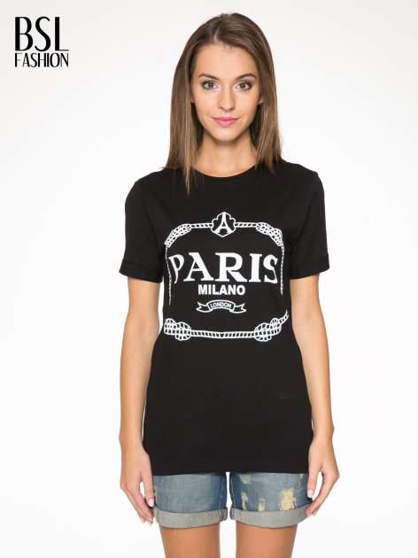 Czarnny t-shirt z nadrukiem PARIS MILANO
