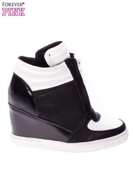 Czarno-białe sneakersy z ażurowym wzorem