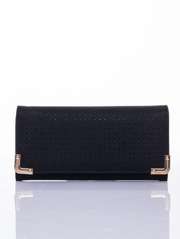 Czarny dziurkowany portfel ze złotym wykończeniem