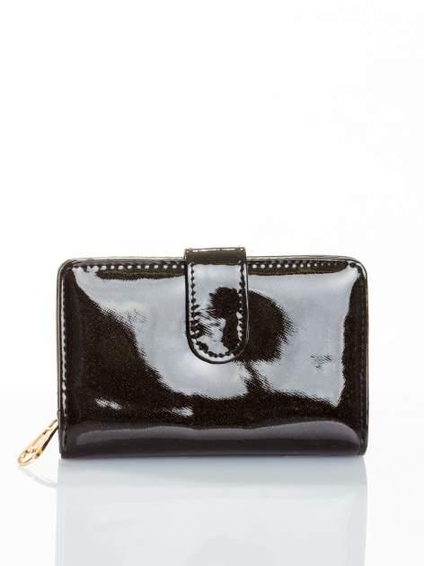 Czarny portfel efekt skóry saffiano