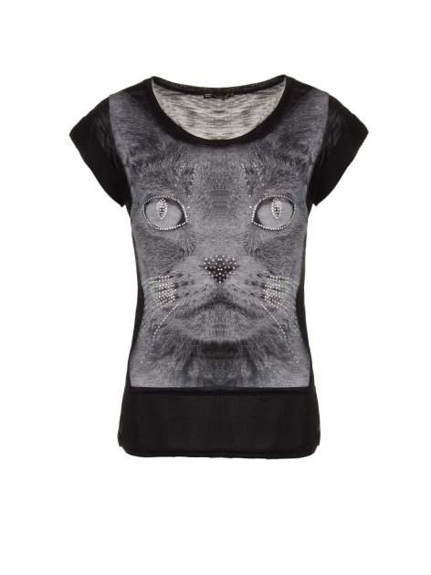 Czarny t-shirt z grafiką kota zdobioną dżetami