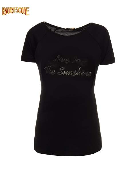 Czarny t-shirt z napisem LIVE IN THE SUNSHINE z dżetów