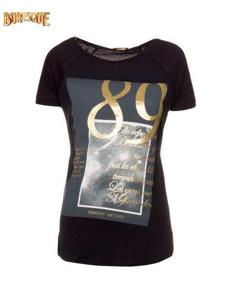 Czarny t-shirt ze złotym nadrukiem 1989