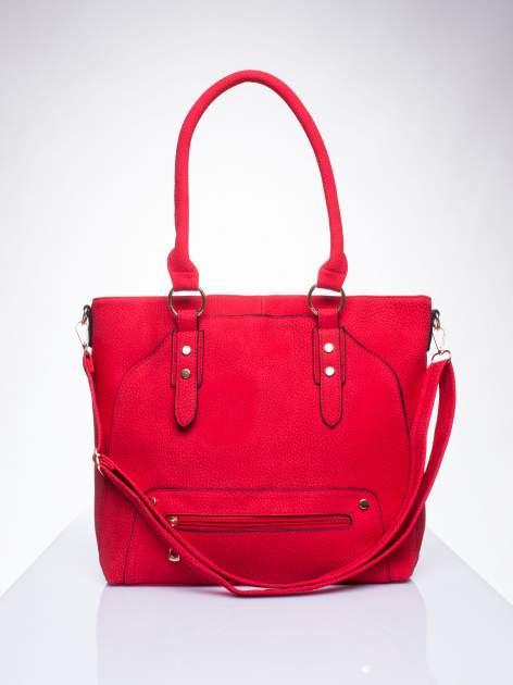 Czerwona torba shopper bag z suwakiem