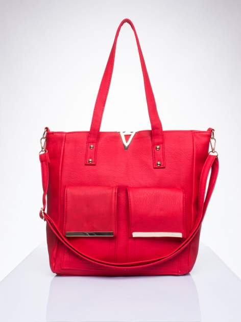 Czerwona torba shopper bag ze kieszeniami na klapki