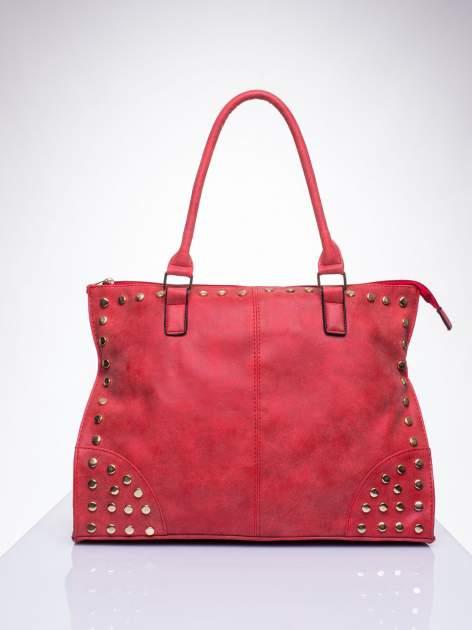 Czerwona torba shopper bag ze złotymi ćwiekami