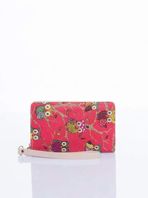 Czerwony mini portfel w sówki