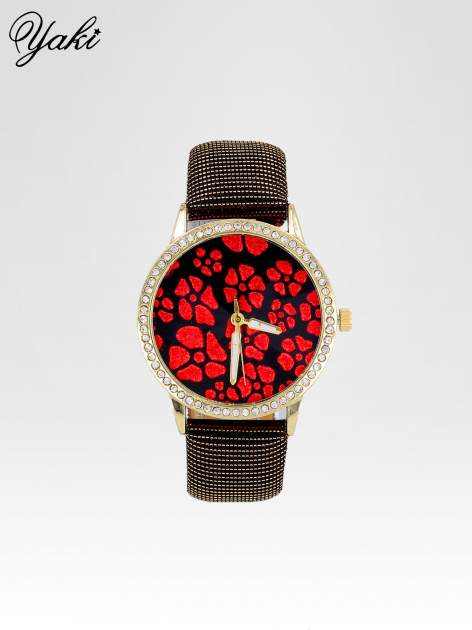 Czerwony zegarek damski na błyszczącym paski z cyrkoniami na kopercie