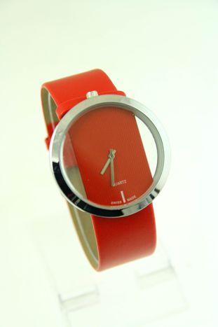 Czerwony zegarek damski na skórzanym pasku