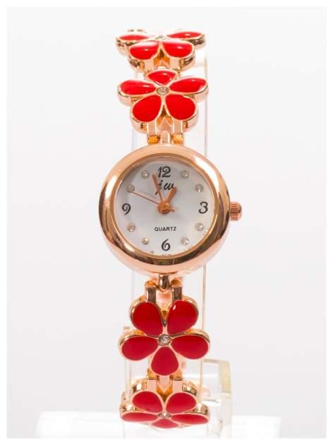 Delikatny śliczny damski zegarek z bransoletką w kształcie kwiatów
