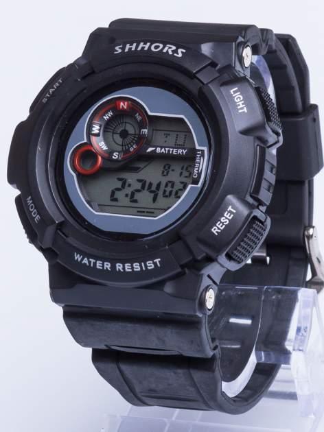Dla Niego... Czarny sportowy męski zegarek wielofunkcyjny